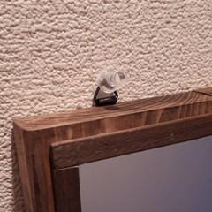 壁掛けフック/鏡リメイク/玄関インテリア/雑貨/ハンドメイド 玄関先に鏡と小物を吊り下げるフックを1つ…(2枚目)