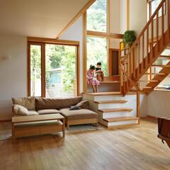 吹き抜け/木製サッシ/読書コーナー/漆喰の壁/無垢フローリング/Low-Eガラス 吹き抜けに面したゆったりした階段と裏山を…