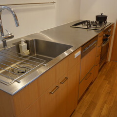 オリジナルキッチン/ステンレスカウンター/グローエの水栓/オリジナルシンク 米松材のパネル、扉と、特注のステンレスカ…
