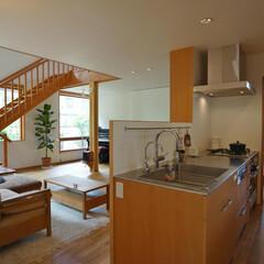 対面式キッチン/オリジナルキッチン/ステンレスカウンター/木製キャビネット キッチンに立つお母さんが、子供たちの様子…