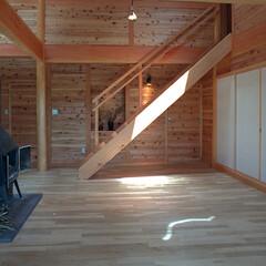 階段/木の壁/トップライト 別荘の2階寝室への階段。 木の壁に合わせ…
