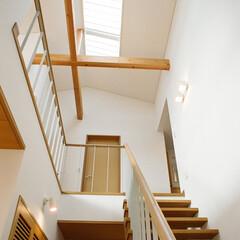 吹き抜け/トップライト 玄関ホールの吹き抜けに設けた階段です。木…
