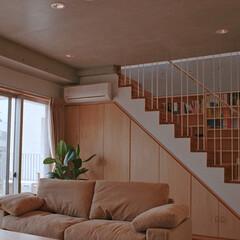 階段/本棚/トップライト 蹴込と踏面を同じ厚さの集成材で作り、白く…