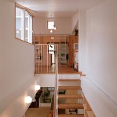 子供スペース/階段/吹き抜け 吹き抜けになった階段室の上に3人の子供た…