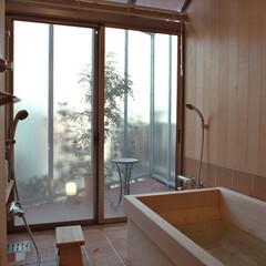 バスコート/ヒバの木の壁/槙の浴槽/明るいバスルーム ヒバの木を張った壁と天井、槙の木の浴槽で…